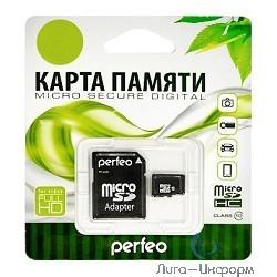 Micro SecureDigital 16Gb Perfeo PF16GMCSH10A {MicroSDHC Class 10, SD adapter}
