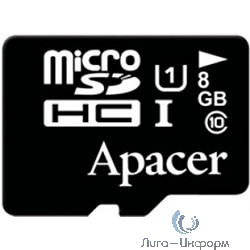 Micro SecureDigital 8Gb Apacer AP8GMCSH10U1-RA {MicroSDHC Class 10 UHS-I}