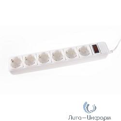 3Cott Сетевой фильтр 3C-SP1006W-1.8 (6 евро-розеток с заземлением, 1.8 м, белый, пакет) {0480820}