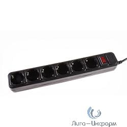 3Cott Сетевой фильтр 3C-SP1006B-1.8 (6 евро-розеток с заземлением, 1.8 м, черный, пакет) {0480824}