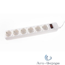 3Cott Сетевой фильтр 3C-SP1006W-5.0 (6 евро-розеток с заземлением, 5 м, белый, коробка) {0480831}