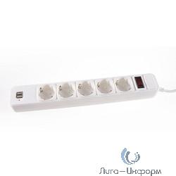 3Cott Сетевой фильтр 3C-SP1005UW-1.8 (5 евро-розеток с заземлением+ 2 USB разъема, 1.8 м, белый, коробка) {0480839}