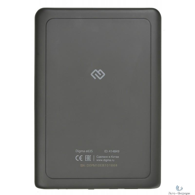 "Электронная книга Digma E63S 6"" E-Ink Carta 800x600 600MHz/4Gb/microSDHC темно-серый [414849]"