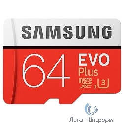 Micro SecureDigital 64Gb Samsung EVO Plus V2 Class 10 MB-MC64GA/RU {MicroSDXC Class 10 UHS-I U3, SD adapter}