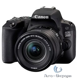 "Canon EOS 200D черный {24.2Mpix EF-S 18-55mm f/3.5-5.6 DC III 3"" 1080p Full HD SDXC Li-ion}"