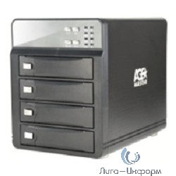 """AgeStar 3C4B3A1 [09691] USB 3.0 Внешний корпус 4x3,5"""" SATA AgeStar 3C4B3A1 (BLACK) USB3.0+eSATA, алюминий,  вентилятор, LCD, без RAID."""