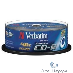 43352 Диски CD-R Verbatim 25 шт. 52-x 700Mb, Cristal AZO, Cake Box