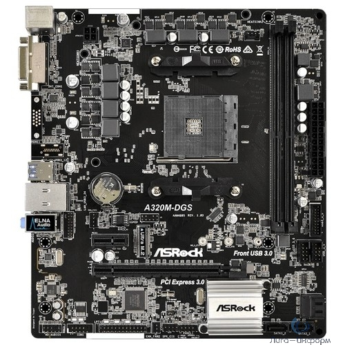 ASRock A320M-DGS A320Socket-AM4 RTL { AM4 <A320> PCI-E DVI GbLAN SATA RAID MicroATX 2DDR4}