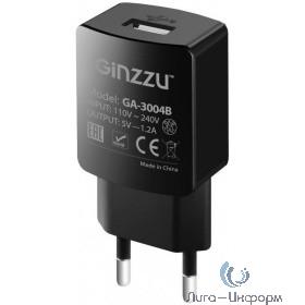 GINZZU GA-3004B, СЗУ 5В/1,2A, USB, черный, + кабель микро USB 1,0м