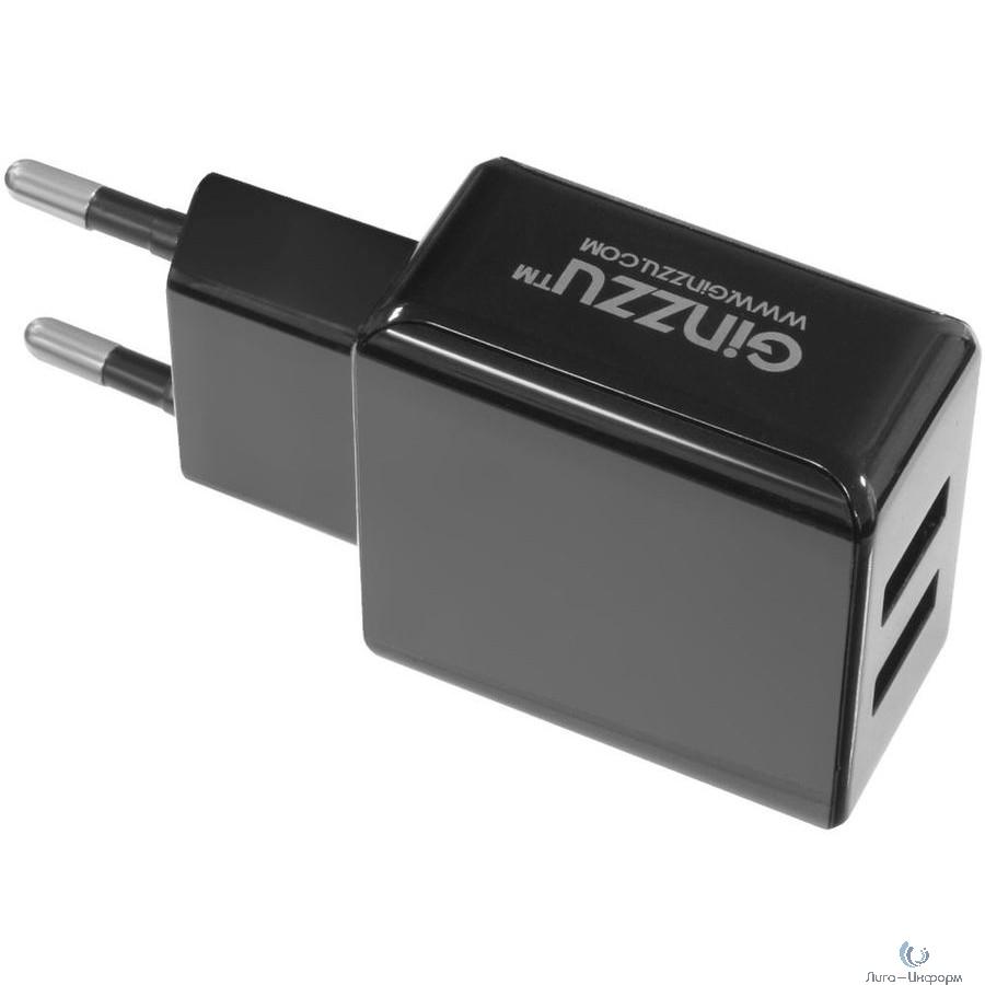 GINZZU GA-3312UB, СЗУ 5В/3.1A/2USB + Дата-кабель микро USB 1,0м, черный