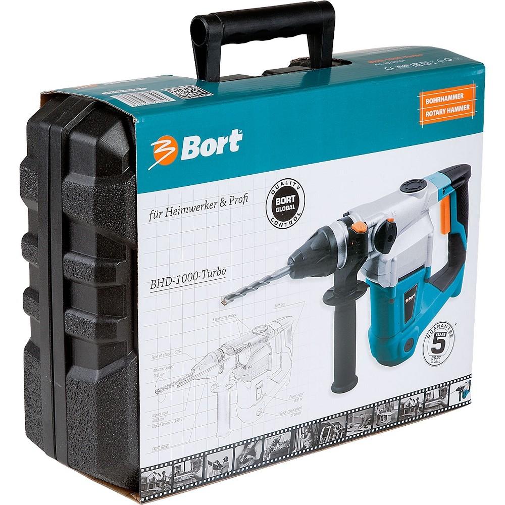 Bort BHD-1000-TURBO Перфоратор электрический [98296594] SDS+, 800 Вт, 3.5 Дж, 900 об/<wbr>мин, 4800 уд/<wbr>мин, 3.8 кг, набор аксессуаров 8 шт, сверление, сверление + удар, долбление