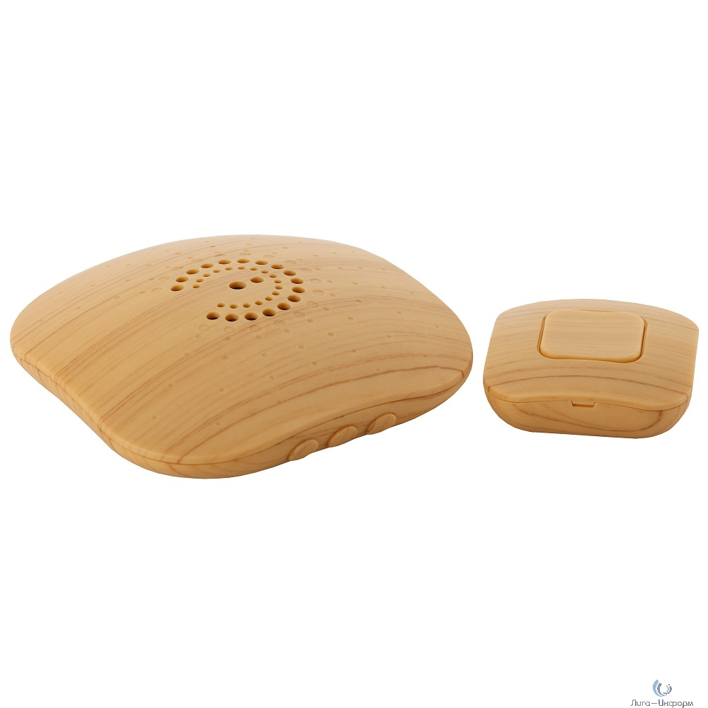 ЭРА Б0018089 Звонок беспроводной BIONIC Bright wood {6 мелодий, регулятор громкости, радиус 100м, кнопка IP44}