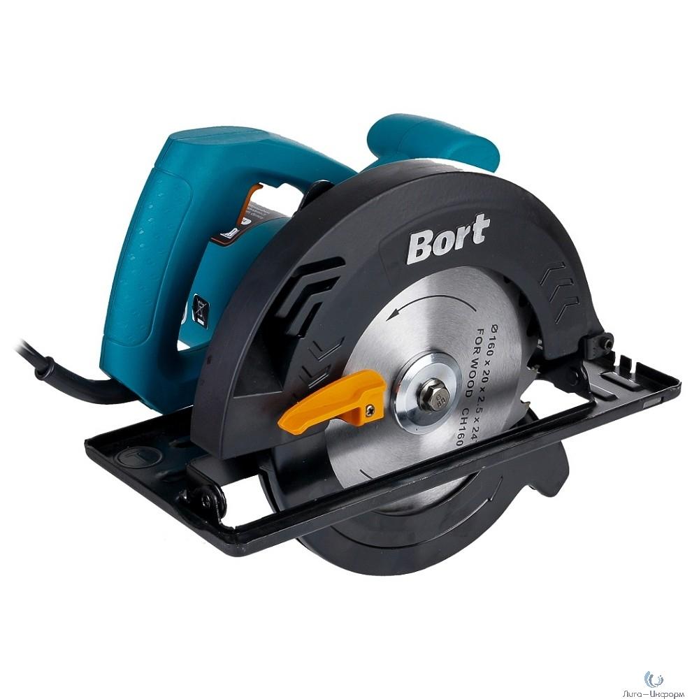 Bort BHK-160U Пила циркулярная [93727215] { 1200 Вт, 5300 об/мин, 165 мм, 20мм, 3.5 кг, набор аксессуаров 4 шт }