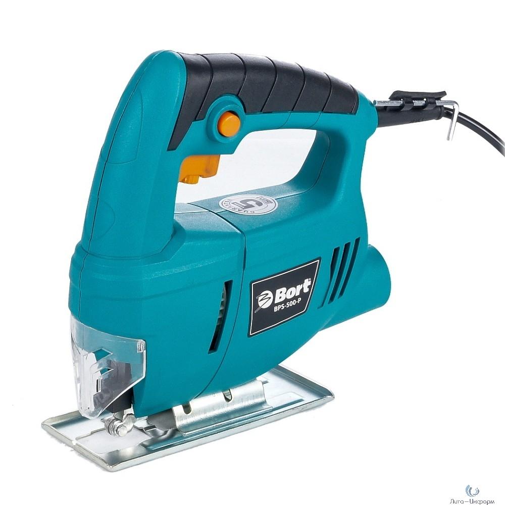 Bort BPS-500-P Лобзик электрический [93720315] { 400 Вт, 3000 об/мин, 1.5 кг, набор аксессуаров 3 шт }