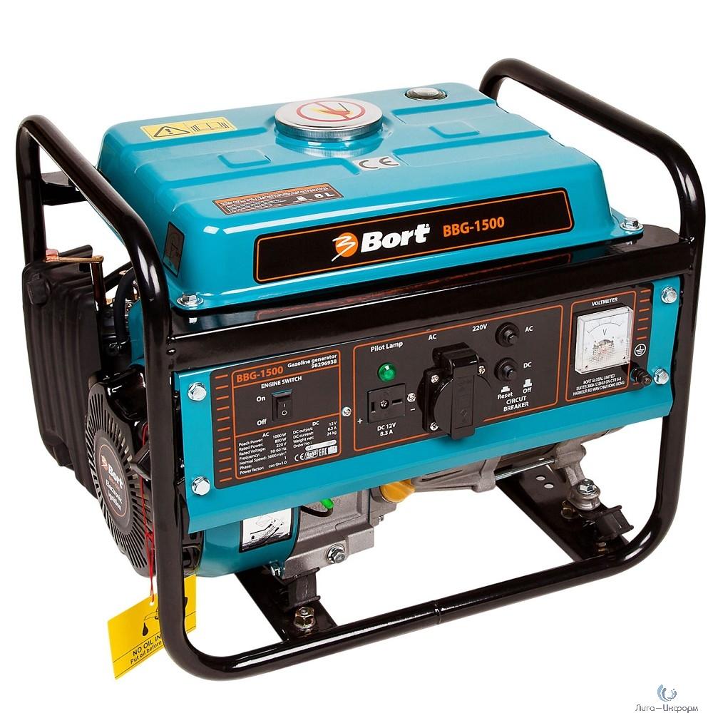 Bort BBG-1500 Генератор бензиновый [98296938] { 4-х тактный, 1000 Вт, рабочий объем двигателя 80 см3,  объем топливного бака 6 л, расход топлива 375 г/Кв*ч, 25 кг }