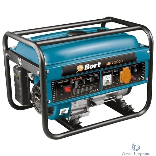 Bort BBG-5000 Генератор бензиновый [98296976] { 4-х тактный, 3000 Вт, рабочий объем двигателя 210 см3,  объем топливного бака 15 л, расход топлива 360 г/Кв*ч, 41 кг }