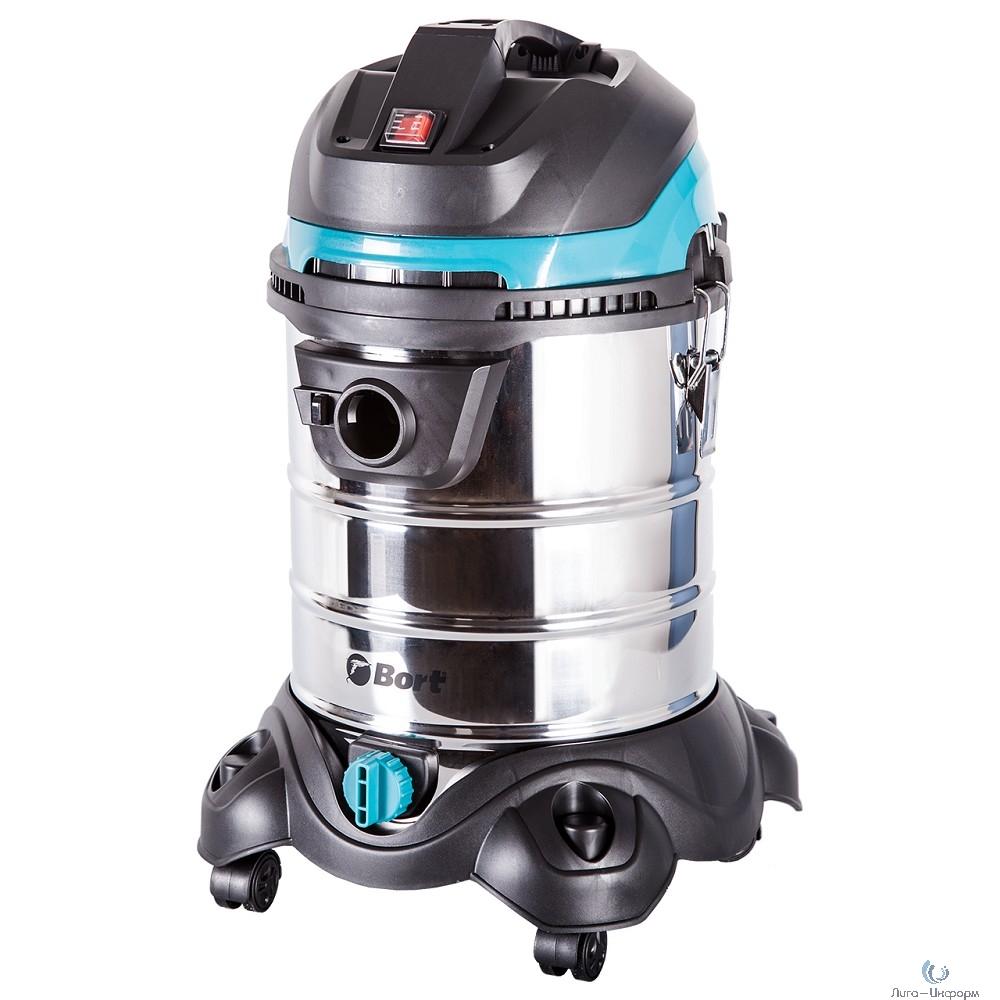 Bort BSS-1425-PowerPlus Пылесос строительный [91272270] { 1400 Вт, вместимость 25 л, 42 л/сек, 8 кг, набор аксессуаров 7 шт }
