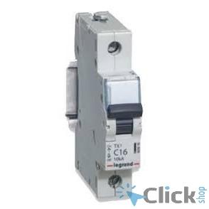 Legrand 403916 Автоматический выключатель TX3 6000 - 10 кА - тип характеристики C - 1П - 230/400 В~ - 16 А - 1 модуль
