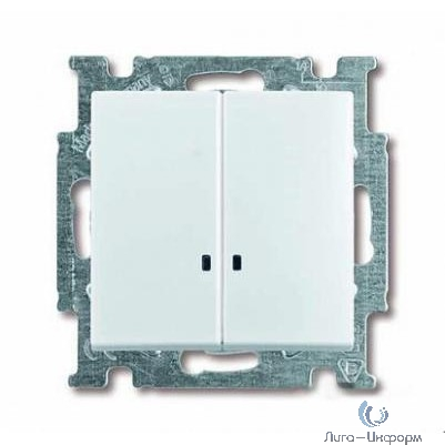 ABB 1012-0-2154 Выключатель с клавишей, 2-клавишный, с подсветкой, Basic 55, альпийский белый
