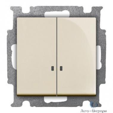 ABB 1012-0-2157 Выключатель с клавишей, 2-клавишный, с подсветкой, Basic 55, слоновая кость