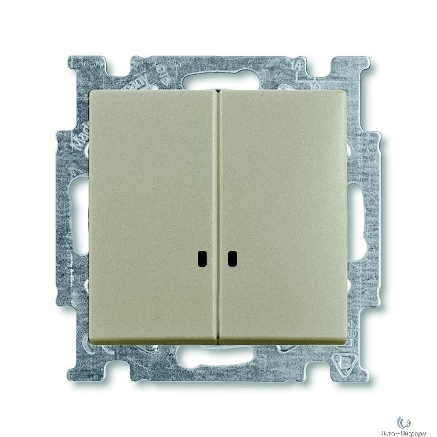 ABB 1012-0-2168 Механизм 2-клавишного, 1-полюсного выключателя с клавишей, с линзой подсветки, с неоновой лампой, серия Basic 55, цвет шампань