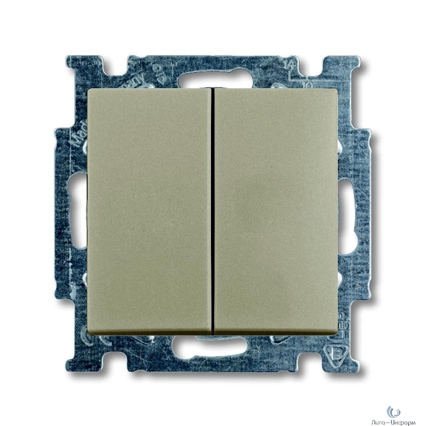 ABB 1012-0-2167 Механизм 2-клавишного, 1-полюсного выключателя с клавишей, серия Basic 55, цвет шампань