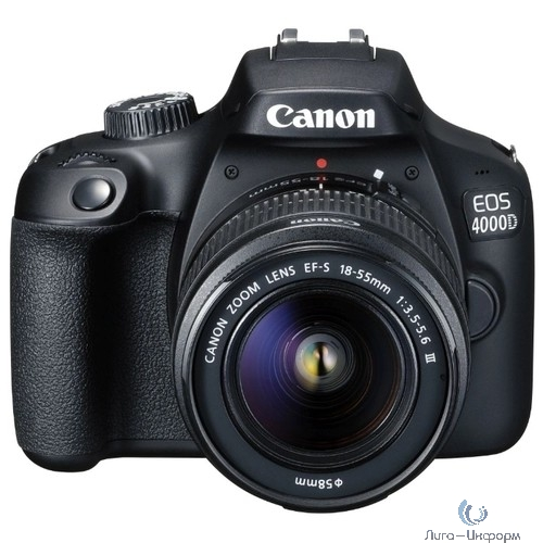 "Canon EOS 4000D KIT черный 18Mpix 18-55mm f/3.5-5.6 2.7"" 1080p Full HD SDXC Li-ion (с объективом)"