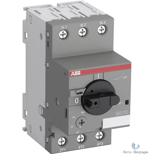 ABB 1SAM250000R1001 Автоматич.выключ. MS116-0.16 50 кА с регулир. тепловой защитой 0,10A-0,16А Класс тепл. расцепит. 10