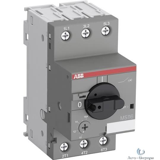 ABB 1SAM250000R1011 Автоматич.выключ. MS116-16.0 16 кА с регулир. тепловой защитой 10A-16А Класс тепл. расцепит. 10