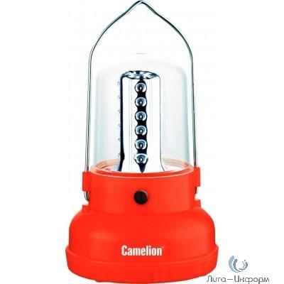 Camelion LED29312  (фонарь акк. 220В кемп, 24 LED, 4В 2.3А-ч, пластик, красный, коробка)