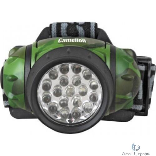 Camelion LED5313-19F4ML (фонарь налобн камуфляж, 19LED, 4 реж, 3XR03 в компл, пласт, блист)