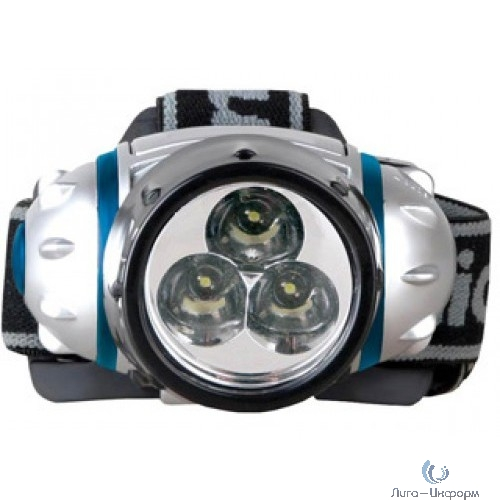 Camelion LED5321-3Mx   (фонарь налобн, металлик,  3 ультра ярк LED, 2 реж,3XR03 в компл, пласт,блис)