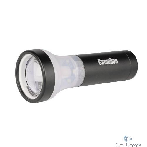 Camelion LED51512  (фонарь, черный,  1LED+4LED, 3 реж 3XLR03 в компл., алюм., откр. блистер)