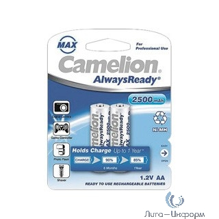 Camelion  AA- 2500mAh Ni-Mh Always Ready BL-2 (NH-AA2500ARBP2, аккумулятор, 1.2В)