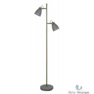 Camelion KD-428BF-2  C68  серый + стар медь (Свет-к напольн.New York, 2х E27, 40Вт, 230В, металл)