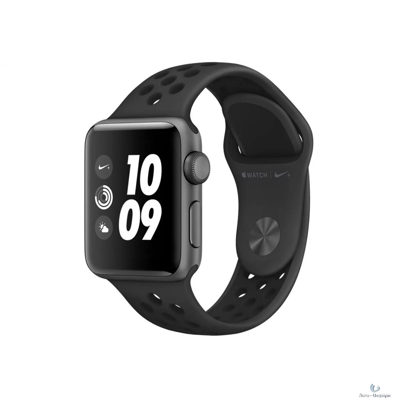 Apple Watch Nike+ Series 3 38 мм, корпус из алюминия цвета серый космос, спортивный ремешок Nike цвета антрацитовый/черный [MTF12RU/A]