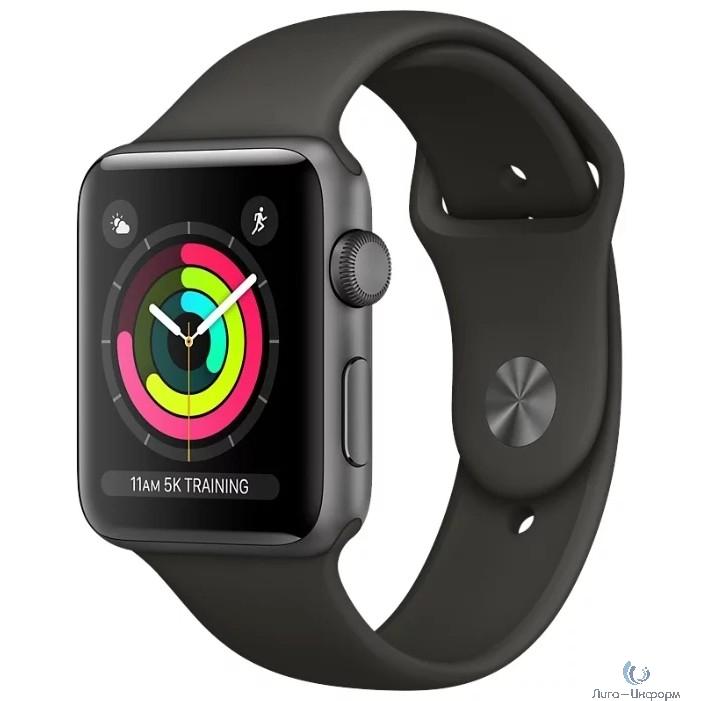 Apple Watch Series 3, 42 мм, корпус из алюминия цвета «серый космос», спортивный ремешок чёрного цвета [MTF32RU/A]