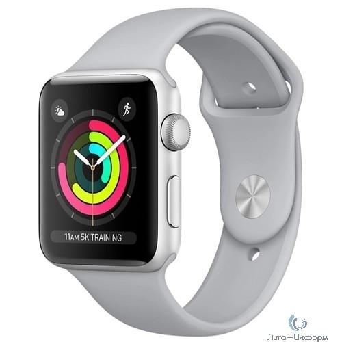 Apple Watch Series 3 42 мм корпус из алюминия серебряный+спортивный ремешок белый [MTF22RU/A]