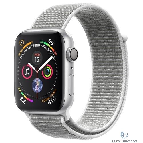 Apple Watch Series 4, 40 мм, корпус из алюминия серебристого цвета, спортивный браслет цвета «белая ракушка» [MU652RU/A]