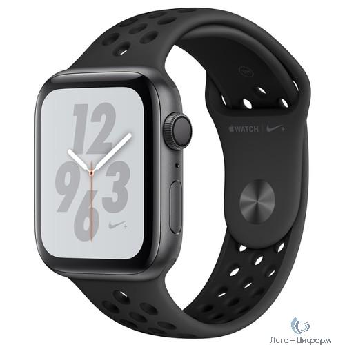 Apple Watch Nike+ Series 4, 44 мм, корпус из алюминия цвета «серый космос», спортивный ремешок Nike цвета «антрацитовый/чёрный» [MU6L2RU/A]