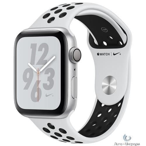 Apple Watch Nike+ Series 4, 44 мм, корпус из алюминия серебристого цвета, спортивный ремешок Nike цвета «чистая платина/чёрный» [MU6K2RU/A]