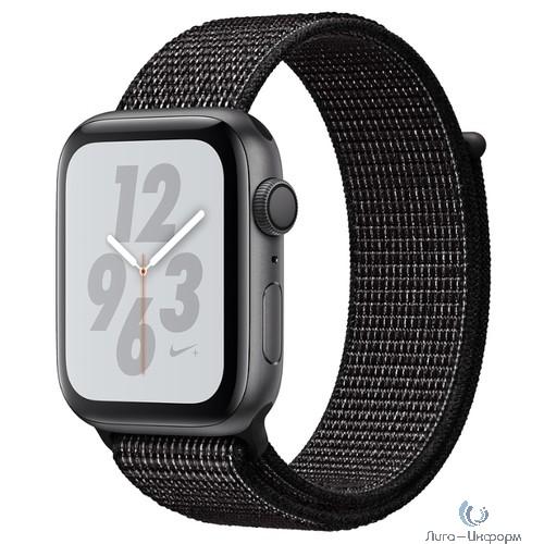 Apple Watch Nike+ Series 4, 44 мм, корпус из алюминия цвета «серый космос», спортивный браслет Nike чёрного цвета [MU7J2RU/A]