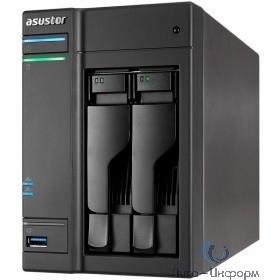 Asustor AS6302T Сетевое хранилище 2-Bay, Intel Celeron Dual-Core, 2GB SO-DIMM DDR3L, GbE x 2, USB 3.0 Type A x3 & USB 3.0 Type C x1, WoW, System Sleep Mode, AES-NI hardware encryption