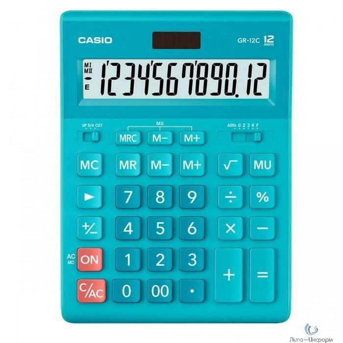Калькулятор настольный CASIO GR-12C-LB голубой {Калькулятор 12-разрядный} [1077301]