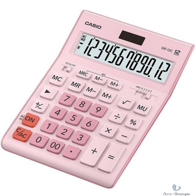 Калькулятор настольный Casio GR-12C-PK розовый {Калькулятор 12-разрядный} [1078423]