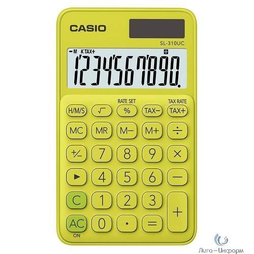 Калькулятор карманный Casio SL-310UC-YG-S-EC желтый/зеленый {Калькулятор 10-разрядный} [1048502]
