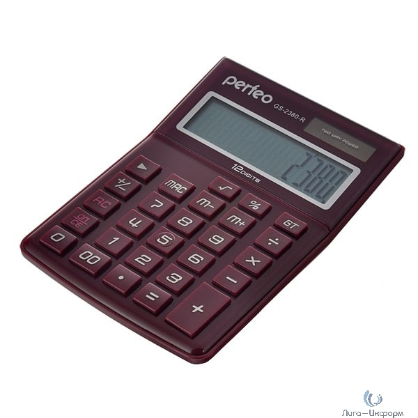 Perfeo калькулятор GS-2380-R, бухгалтерский, 12-разр., GT, красный