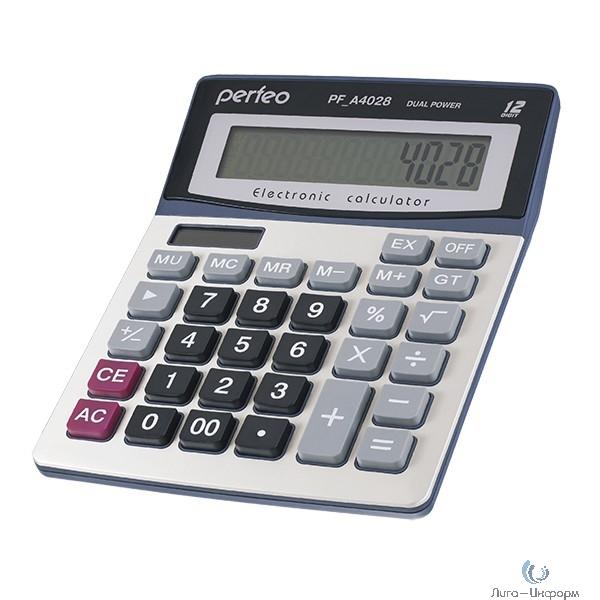 Perfeo калькулятор PF_A4028, бухгалтерский, 12-разр., GT, серебристый