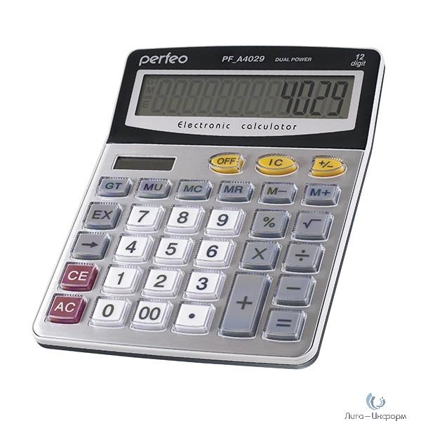 Perfeo калькулятор PF_A4029, бухгалтерский, 12-разр., GT, серебристый