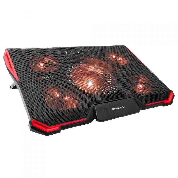 "CROWN  Подставка для ноутбука CMLS-k330 RED ( до 19"" Размер 410*292*29мм , кулеры: D140mm*1+ D80mm*4, ,красная led подсветка, регулятор скорости, 7 уровней наклона)"